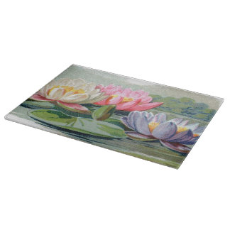 Vintage Lily Pad Pond Lilies Floral Cutting Board