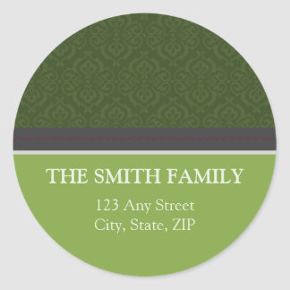 Vintage Lime Damask Return Address Sticker