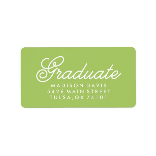 Vintage Lime Green | Graduation Address Label
