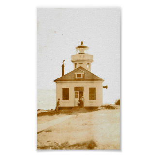 Vintage Lime Kiln Lighthouse Poster