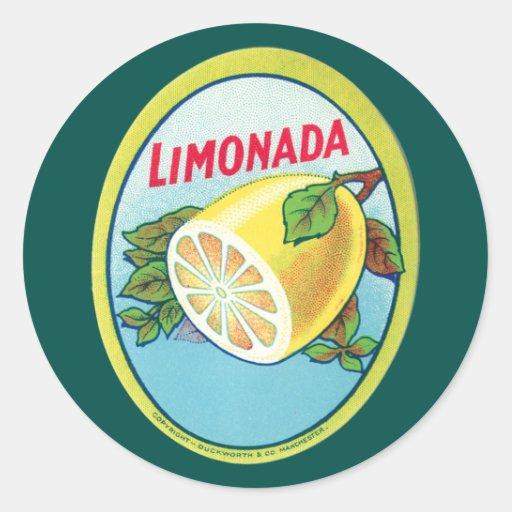 Vintage Limonada Label Classic Round Sticker