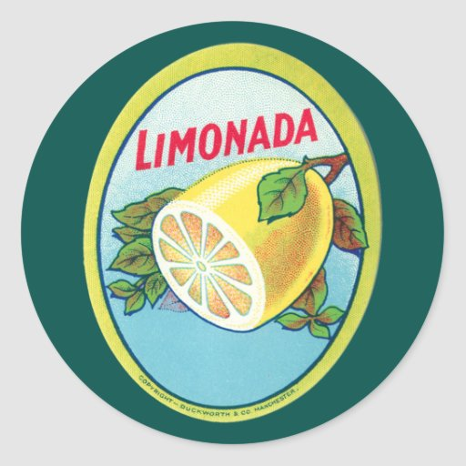 Vintage Limonada Label Round Sticker