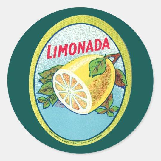Vintage Limonada Label Round Sticker