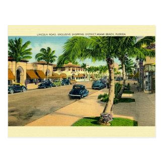 Vintage Lincoln Road Miami Beach Postcard