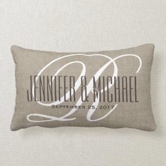 Vintage Linen Look with White Monogram Lumbar Cushion
