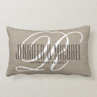 Vintage Linen Look with White Monogram Lumbar Pillow