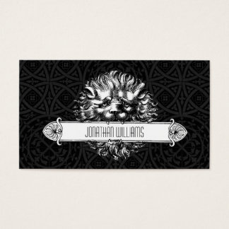 Vintage Lion Black & White Unique Business Cards
