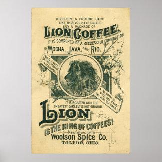 Vintage Lion Coffee Mocha Java Rio Advertisement Poster