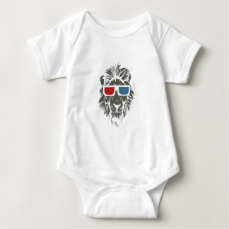 vintage lion design with color gases baby bodysuit