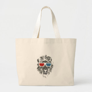 vintage lion design with color gases large tote bag