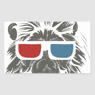 vintage lion design with color gases rectangular sticker