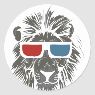 vintage lion design with color gases round sticker