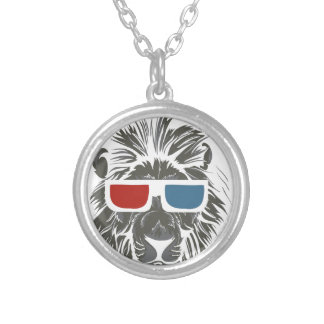 vintage lion design with color gases silver plated necklace