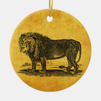 Vintage Lion Illustration - 1800's African Animal Round Ceramic Decoration