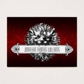 Vintage Lion & Leather Premium Business Cards