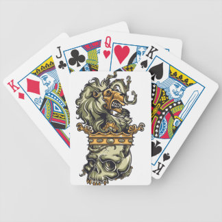 vintage lion on dead skull bicycle playing cards