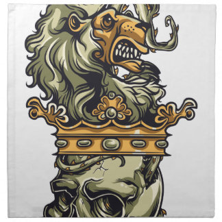 vintage lion on dead skull napkin