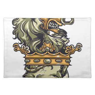 vintage lion on dead skull placemat