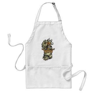 vintage lion on dead skull standard apron