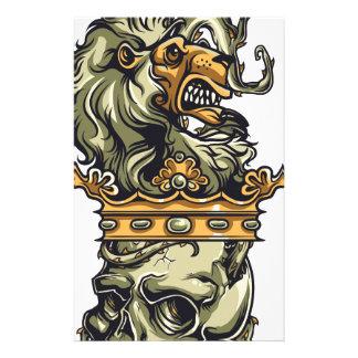 vintage lion on dead skull stationery