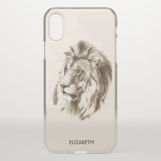 Vintage Lion With Orange Eyes Transparent Drawing iPhone X Case