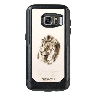 Vintage Lion With Orange Eyes Transparent Drawing OtterBox Samsung Galaxy S7 Case