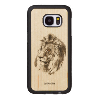 Vintage Lion With Orange Eyes Transparent Drawing Wood Samsung Galaxy S7 Case