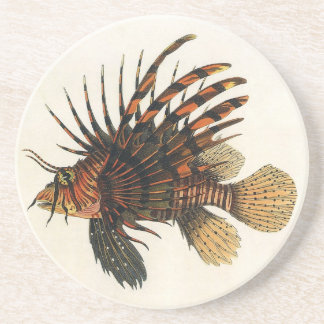 Vintage Lionfish Fish, Marine Ocean Life Animal Coaster
