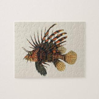 Vintage Lionfish Fish, Marine Ocean Life Animal Jigsaw Puzzle