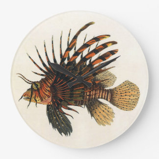 Vintage Lionfish Fish, Marine Ocean Life Animal Large Clock