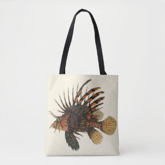 Vintage Lionfish Fish, Marine Ocean Life Animal Tote Bag