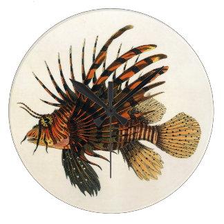 Vintage Lionfish Fish, Marine Ocean Life Animal Wall Clocks