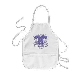 Vintage Lions with Swirls 4 Heads and Circle Swirl Kids Apron