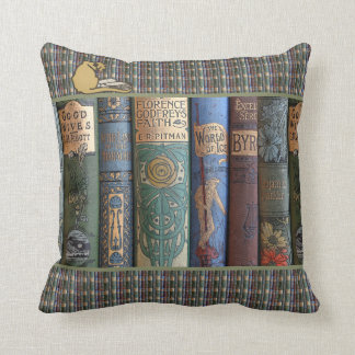 Vintage Literary Book Collector Cat Cushion