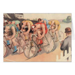 Vintage Litho Drawing Bicycle Race