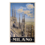 Vintage Litho Travel ad Milan Italy Poster