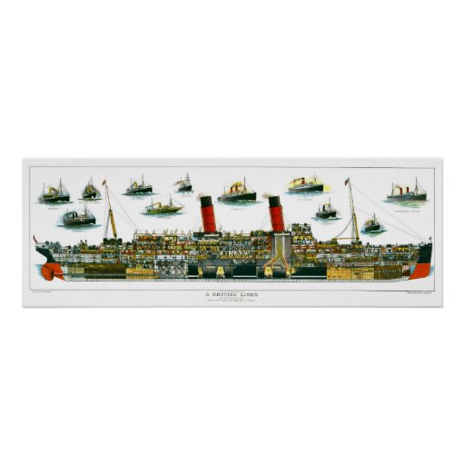Vintage Lithograph British Ocean Liner RMS Caronia Poster