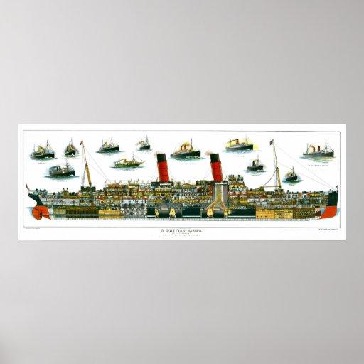Vintage Lithograph British Ocean Liner RMS Caronia Print