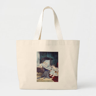 vintage Lithograph with Children Jumbo Tote Bag