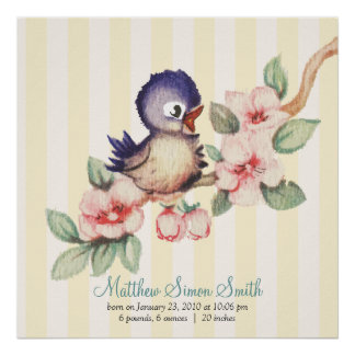 Vintage Little Bird Baby Personalized Birth Poster