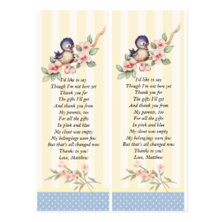 Vintage Little Bird Baby Shower Custom Favor Tag Postcard