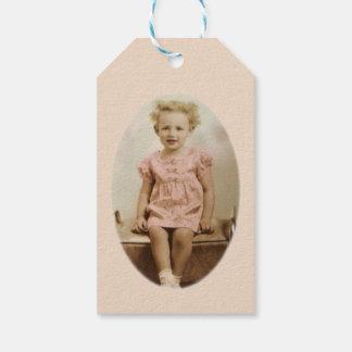 Vintage little blonde girl in pink dress gift tag