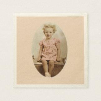 Vintage little blonde girl in pink dress napkins disposable napkin