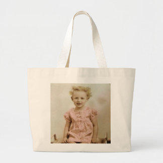 Vintage little blonde girl in pink dress tote bag