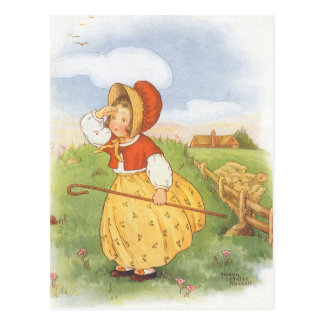 Vintage Little Bo Peep Mother Goose Nursery Rhyme Post Card