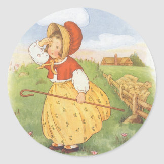 Vintage Little Bo Peep Mother Goose Nursery Rhyme Round Sticker