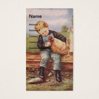 Vintage Little Boy and Chicken Business Card
