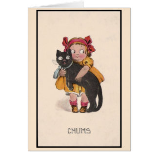Vintage Little Girl and Black Cat Note Card