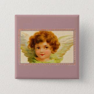 Vintage Little Girl Angel in Frame 15 Cm Square Badge