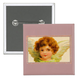 Vintage Little Girl Angel in Frame 15 Cm Square Badge
